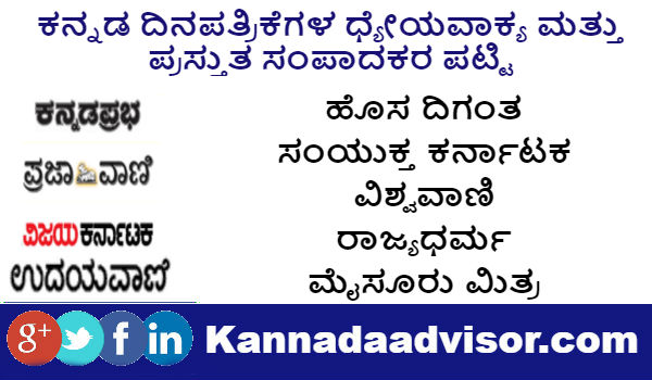 Kannada News Papers current editors and News Papers Mottos